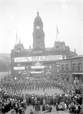 Decorated Dewsbury Town Hall for war recruitment and military display