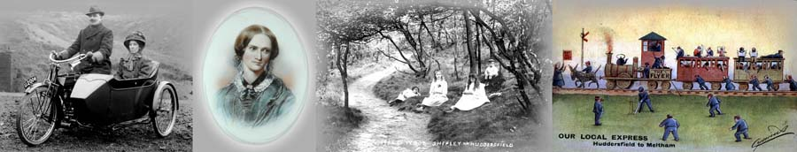 "Photo Montage of Motorcycle and sidecar, Charlotte Bronte, Children in Mill Wood, Shepley, ""Our Local Express"""